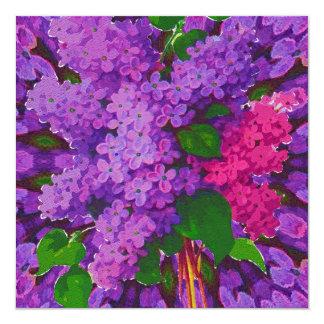 Pink & Purple Lilacs 13 Cm X 13 Cm Square Invitation Card