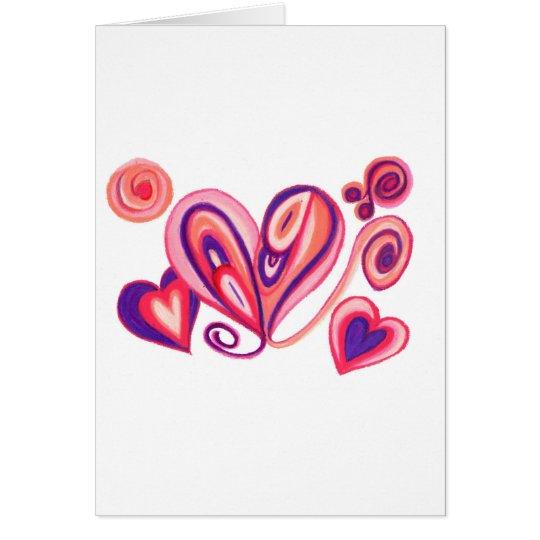 Pink Purple Love Hearts Card