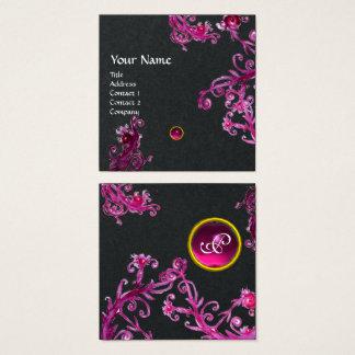 PINK PURPLE MAGIC BERRIES GEMSTONE MONOGRAM Black Square Business Card