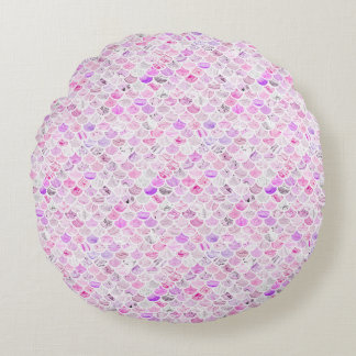Pink & Purple Marble Mermaid Scales Round Cushion