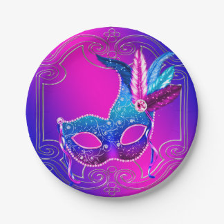 Pink Purple Masquerade Party 7 Inch Paper Plate