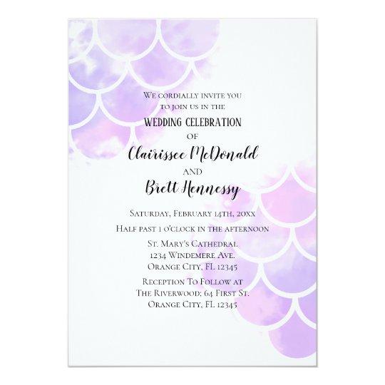 Pink & Purple Mermaid Inspired Wedding Invitation