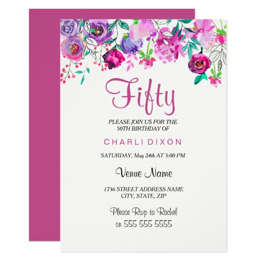 Pink Purple Mint Watercolor Flowers 50th Birthday Card