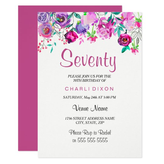 Pink Purple Mint Watercolor Flowers 70th Birthday Card