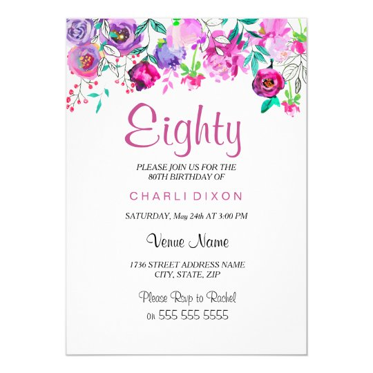 Pink Purple Mint Watercolor Flowers 80th Birthday Card