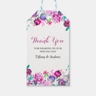 Pink Purple Mint Watercolor Flowers Wedding Gift Tags