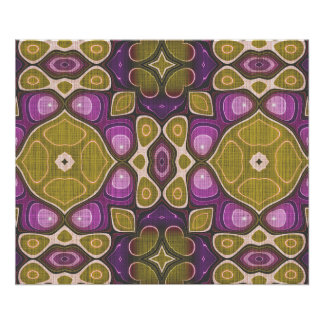 Pink Purple Ochre Olive Green Hip Ornate Art Motif Poster