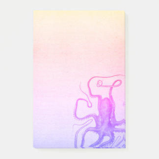 Pink Purple Octopus Ombre Steampunk Sea Post-it Notes
