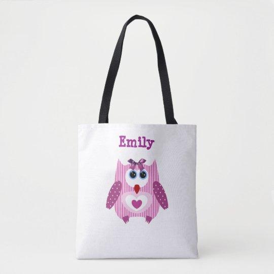 Pink Purple Owl Customised Name Tote Bag
