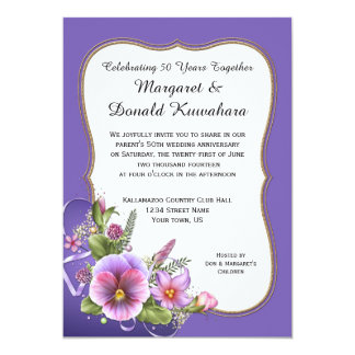 Pink Purple Pansies Gold Frame 50th Anniversary 13 Cm X 18 Cm Invitation Card