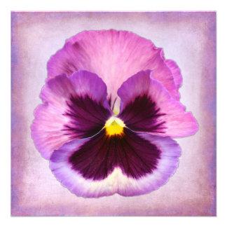 Pink Purple Pansy Flower Custom Invites