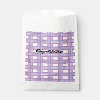 pink purple plaid favour bag