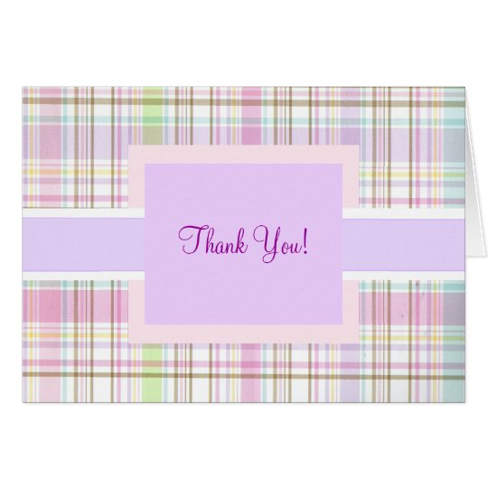 Pink Purple Plaid Thank You Card