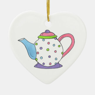Pink Purple Polka Dot Teapot Tea Pot Personalized Christmas Ornament