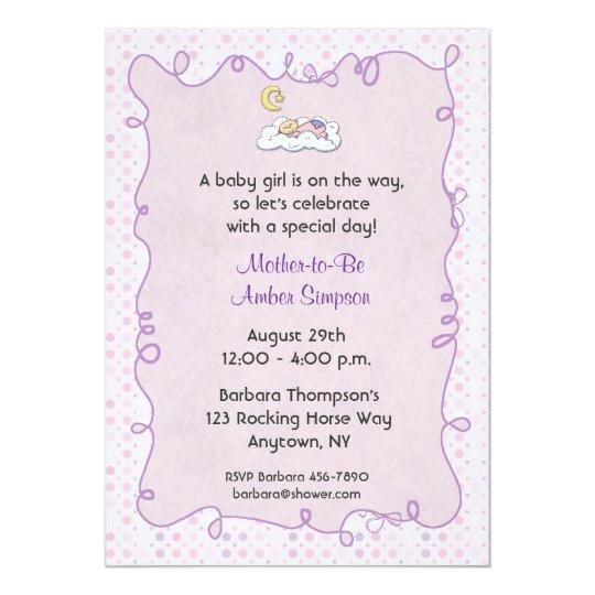 Pink Purple Polka Dots Baby Shower Invitation