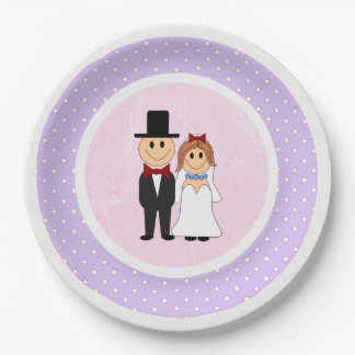 Pink & Purple Polka Dots Bride and Groom Wedding Paper Plate