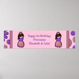 Pink & Purple Princess Twin Birthday Custom Poster
