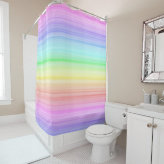 Pink Purple Rainbow Pastel Stripes Shower Curtain