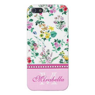 Pink purple red yellow wildflowers & roses, name case for iPhone 5/5S