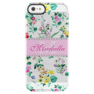 Pink purple red yellow wildflowers & roses, name clear iPhone SE/5/5s case