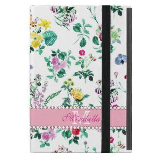 Pink purple red yellow wildflowers & roses, name cover for iPad mini