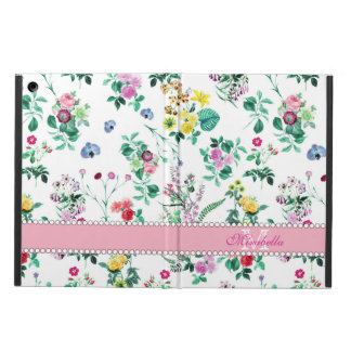Pink purple red yellow wildflowers & roses, name iPad air cases