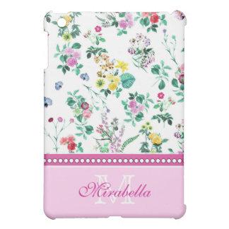Pink purple red yellow wildflowers & roses, name iPad mini covers