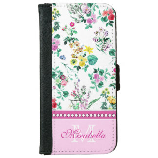 Pink purple red yellow wildflowers & roses, name iPhone 6 wallet case