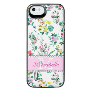 Pink purple red yellow wildflowers & roses, name iPhone SE/5/5s battery case