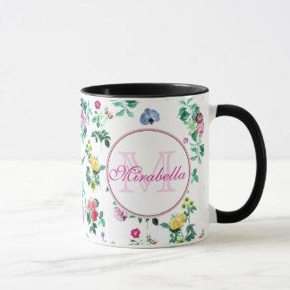 Pink purple red yellow wildflowers & roses, name mug
