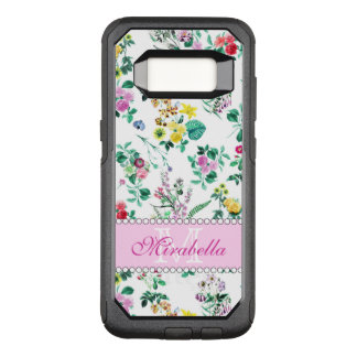 Pink purple red yellow wildflowers & roses, name OtterBox commuter samsung galaxy s8 case