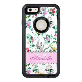 Pink purple red yellow wildflowers & roses, name OtterBox defender iPhone case