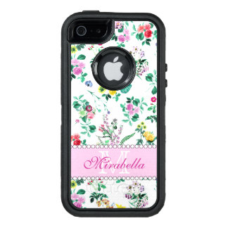 Pink purple red yellow wildflowers & roses, name OtterBox iPhone 5/5s/SE case