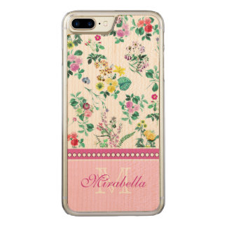 Pink purple red yellow wildflowers & roses, named carved iPhone 8 plus/7 plus case