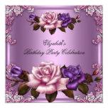 Pink Purple Roses Elegant Birthday Party 13 Cm X 13 Cm Square Invitation Card