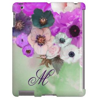 PINK PURPLE  ROSES,WHITE ANEMONE FLOWERS MONOGRAM iPad CASE