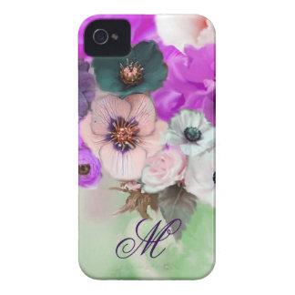 PINK PURPLE  ROSES,WHITE ANEMONE FLOWERS MONOGRAM iPhone 4 Case-Mate CASE