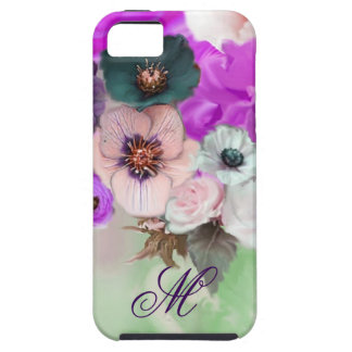 PINK PURPLE  ROSES,WHITE ANEMONE FLOWERS MONOGRAM iPhone 5 COVER