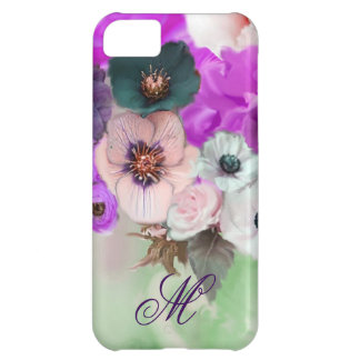 PINK PURPLE  ROSES,WHITE ANEMONE FLOWERS MONOGRAM iPhone 5C CASE