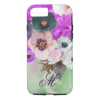 PINK PURPLE  ROSES,WHITE ANEMONE FLOWERS MONOGRAM iPhone 7 CASE