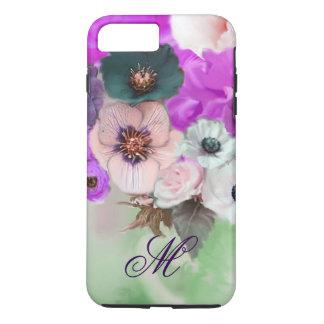 PINK PURPLE  ROSES,WHITE ANEMONE FLOWERS MONOGRAM iPhone 7 PLUS CASE