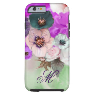 PINK PURPLE  ROSES,WHITE ANEMONE FLOWERS MONOGRAM TOUGH iPhone 6 CASE