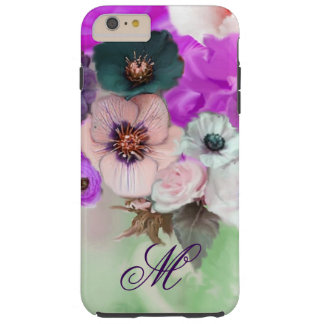 PINK PURPLE  ROSES,WHITE ANEMONE FLOWERS MONOGRAM TOUGH iPhone 6 PLUS CASE