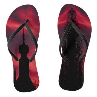 pink purple silhouette flip flops