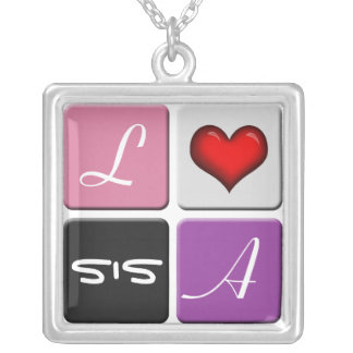 Pink Purple SIS Sisters Necklace
