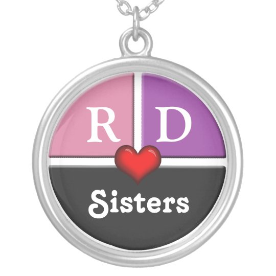 Pink & Purple Slice Round Sisters Necklace