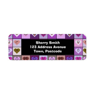 Pink & Purple Smiley Heart Squares