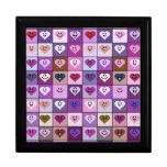Pink & Purple Smiley Heart Squares Large Square Gift Box