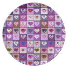 Pink & Purple Smiley Heart Squares Plate