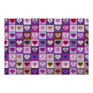 Pink & Purple Smiley Heart Squares Print